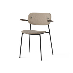 Co Chair, fully upholstered with armrest, Black | Dark Stained Oak | Lupo T19028 004 | Chairs | MENU