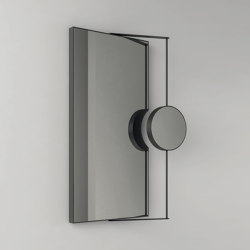 Ray - rectangular steel framed mirror with magnifying make up/shaving area cm. 69x100x4 | Bath mirrors | NIC Design