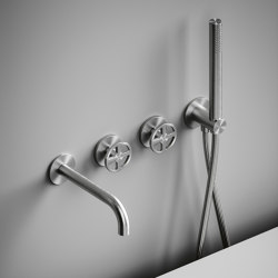 Valvola02   Set of 2 hydroprogressive mixers for bathtub with spout and hand shower.   Bath taps   Quadrodesign