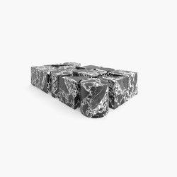 KAFFEE-TISCH – FS 90 Grand Antique Marmor, Weiss-Schwarz   Couchtische   RECHTECK FELIX SCHWAKE