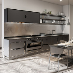 TAILOR MADE KITCHENS | CONTEMPORANEA PROJECT JET BLACK AND BLACK POLISHED NICKEL | Fitted kitchens | Officine Gullo