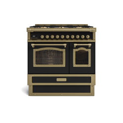 COOKING RANGES | RESTART 90 COOKING RANGE WITH 5 BURNERS AND 2 ELECTRIC OVENS WITH GLASS DOOR | Ovens | Officine Gullo