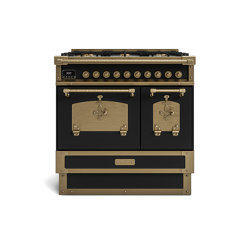 COOKING RANGES | RESTART 90 COOKING RANGE WITH 5 BURNERS AND 2 ELECTRIC OVENS WITH BRASS DOOR | Ovens | Officine Gullo