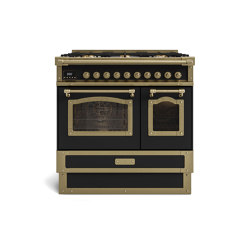 COOKING RANGES | RESTART 90 COOKING RANGE WITH 6 BURNERS AND 2 ELECTRIC OVENS WITH GLASS DOOR | Ovens | Officine Gullo