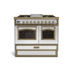 COOKING RANGES | RESTART 100 COOKING RANGE WITH 4 BURNERS + FRYTOP AND ELECTRIC MULTIFUCTION OVEN WITH GLASS DOOR | Ovens | Officine Gullo