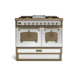 COOKING RANGES | RESTART 100 COOKING RANGE WITH 4 BURNERS + FRYTOP AND ELECTRIC MULTIFUCTION OVEN WITH BRASS DOOR | Ovens | Officine Gullo