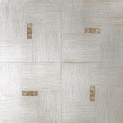 Design Panels | Segreti Onda Bianco with ceramic inserts | Wood flooring | Foglie d'Oro