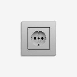 E2 Flat installation | Socket outlet Colour aluminium | Schuko sockets | Gira
