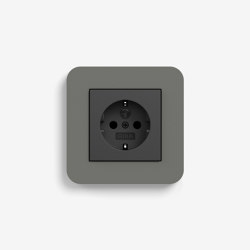 E3 | Socket outlet Dark grey with black | Schuko sockets | Gira