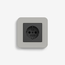 E3 | Socket outlet Grey with black | Schuko sockets | Gira