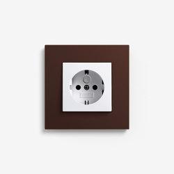 Esprit Linoleum-Plywood | Socket outlet Dark brown | Schuko sockets | Gira