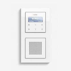 Entertainment | RDS flush-mounted radio with a speaker | Pure white glossy (including E2) | Radio systems | Gira