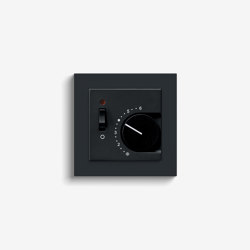 Heating and Temperature | Room temperature controller with NC contact | 1-way switch and control light, black (including E2) | Heating / Air-conditioning controls | Gira