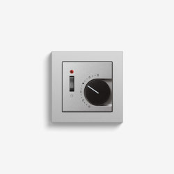 Heating and Temperature | Room temperature controller with NC contact | 1-way switch and control light, colour aluminium (including E2) | Heating / Air-conditioning controls | Gira