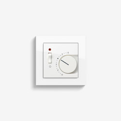 Heating and Temperature | Room temperature controller with NC contact | 1-way switch and control light, pure white glossy (including E2) | Heating / Air-conditioning controls | Gira