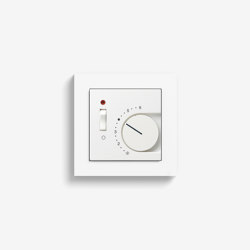 Heating and Temperature | Room temperature controller with NC contact | 1-way switch and control light, pure white matt (including E2) | Heating / Air-conditioning controls | Gira