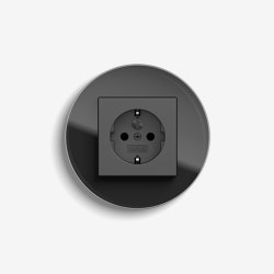 Studio | Socket outlet Glass black | Prese Schuko | Gira