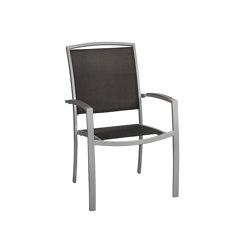 Manhattan   Sessel Manhattan Silber Alu Schwarz Tex / Armauflage Stone Grey   Stühle   MBM