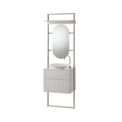 rc40 | Aluminium-frame-system incl. mineral cast washbasin sit on vessel | Bath shelving | burgbad