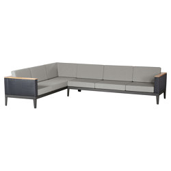 Aura Deep Seating Six-seat Corner Settee DS (Graphite Frame - Charcoal Sides) | Sofas | Barlow Tyrie