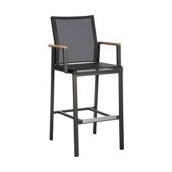 Aura High Dining Carver (Graphite Frame - Charcoal Sling) | Bar stools | Barlow Tyrie