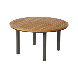 Aura Table 140 Ø Circular (Teak Top and Graphite Frame) | Dining tables | Barlow Tyrie