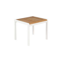 Aura Low Table 50 (Teak Top and Arctic White Frame) | Coffee tables | Barlow Tyrie