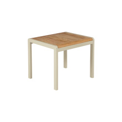 Aura Low Table 50 (Teak Top and Champagne Frame) | Coffee tables | Barlow Tyrie
