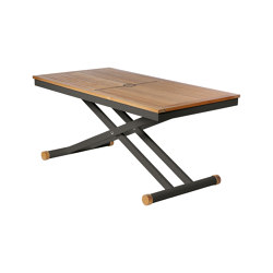 Aura Adjustable Height Table 140 Rectangular (Teak Top and Graphite Frame) | Dining tables | Barlow Tyrie