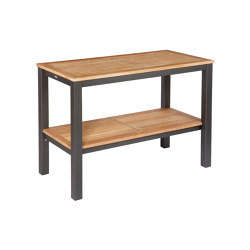 Aura Serving Table Rectangular (Teak Top and Graphite Frame) | Standing tables | Barlow Tyrie