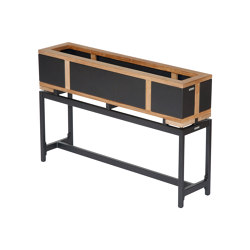 Aura Planter Stand 28 X 100 with teak edging (Graphite Frame) | Plant pots | Barlow Tyrie