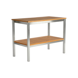 Equinox Serving Table Rectangular with Teak top and shelf | Standing tables | Barlow Tyrie