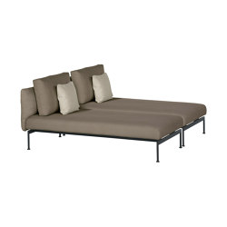 Layout Double Lounger - Double seats with single backs (Forge Grey Frame) | Chaise longues | Barlow Tyrie