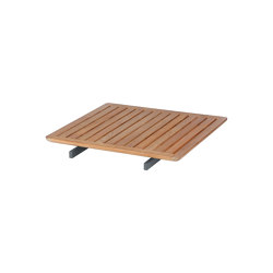 Layout Bridging Table 80 Square with Teak top (powder coated) (Forge Grey Frame) | Accessoires de table | Barlow Tyrie