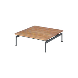 Layout Low Table 80 Square with Teak top (powder coated) (Forge Grey Frame) | Coffee tables | Barlow Tyrie