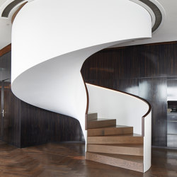 Sculptural stairs in the Hamburg hotel The Fontenay | Scale | MetallArt Treppen