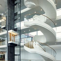 Elegant spiral staircase at Vector in Stuttgart-Weilimdorf | Systèmes d'escalier | MetallArt Treppen