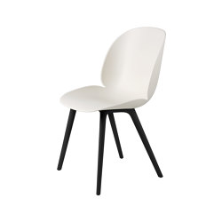 Beetle Dining Chair, Plastic edition (Alabaster White Shell, Black Legs) | Chairs | GUBI
