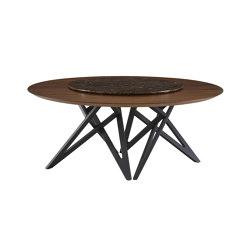 Ennéa | Dining Table - Lazy Suzan Dark Walnut Top Lazy Suzan Pierre Corsé (Ø 108 Cm) | Dining tables | Ligne Roset
