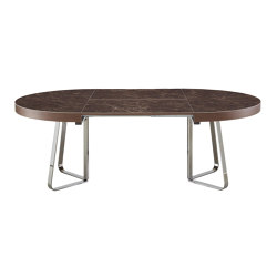 Ava | Dining Table Emperador Ceramic Stoneware Top + Matching Extension Brilliant Chromed Base | Dining tables | Ligne Roset