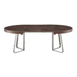 Ava | Table De Repas Plateau Gres Cerame Emperador + Allonge Assortie Pietement Chromé Brillant | Tables de repas | Ligne Roset