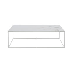 Space   Low Rectangular Table Top In White Marble-Effect Ceramic Stoneware White Lacquered Base   Coffee tables   Ligne Roset