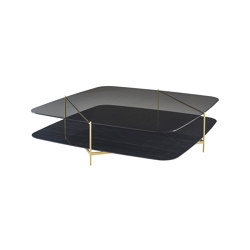 Clyde | Low Table - Brass-Effect Steel Structure Upper Top In Grey Smoked Glass Lower Top In Black Marble-Effect Ceramic Stoneware | Coffee tables | Ligne Roset