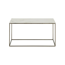 Space | Low Table - Medium - Top In White Marble-Effect Ceramic Stoneware Black Chromed Base | Coffee tables | Ligne Roset