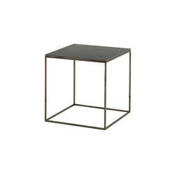 Space | Low Table - Small - Top In Metallic Anthracite Ceramic Stoneware Black Chromed Base | Coffee tables | Ligne Roset