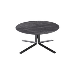 Moa | Low Table Black Lacquered Base Gloss Black Marble-Effect Ceramic Stoneware Top | Coffee tables | Ligne Roset
