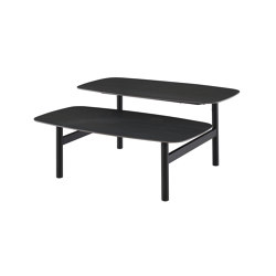 Pantographe   Low Table Top In Metallic Anthracite Ceramic Stoneware Black Lacquered Base   Coffee tables   Ligne Roset