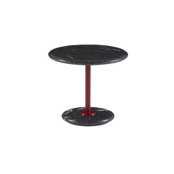 Astair | Small Pedestal Table Bordeaux Lacquered Steel Base Black Marble Top | Side tables | Ligne Roset