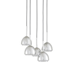 Chrome Bell | Suspended Ceiling Light 5 Cables | Suspended lights | Ligne Roset