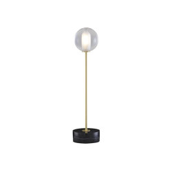 Calot | Table Lamp Brass-Coated Steel Structure / Black Base | Table lights | Ligne Roset